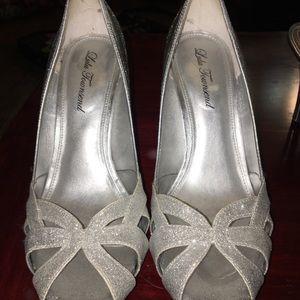 Silver shimmer high heels